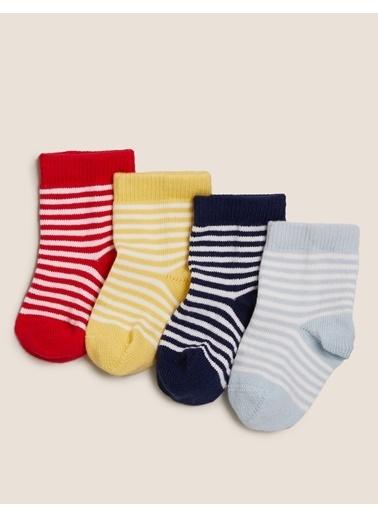 Marks & Spencer 4'lü Çizgili Çorap Seti Renkli